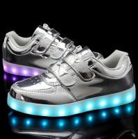 Светящиеся кроссовки темно-синие низкие на липучке размеры 26-31